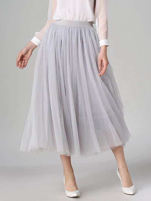 Tulle High Waist Midi SkirtWOMEN<br><br>Size: ONE SIZE; Color: LIGHT GRAY; Material: Polyester; Length: Mid-Calf; Silhouette: A-Line; Pattern Type: Solid; Season: Fall,Spring,Summer; With Belt: No; Weight: 0.370kg; Package Contents: 1 x Skirt;