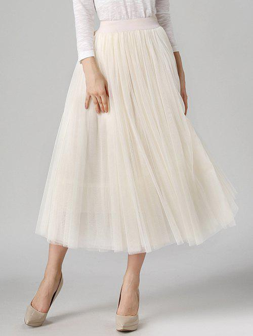 Tulle High Waist Midi SkirtWOMEN<br><br>Size: ONE SIZE; Color: OFF-WHITE; Material: Polyester; Length: Mid-Calf; Silhouette: A-Line; Pattern Type: Solid; Season: Fall,Spring,Summer; With Belt: No; Weight: 0.370kg; Package Contents: 1 x Skirt;