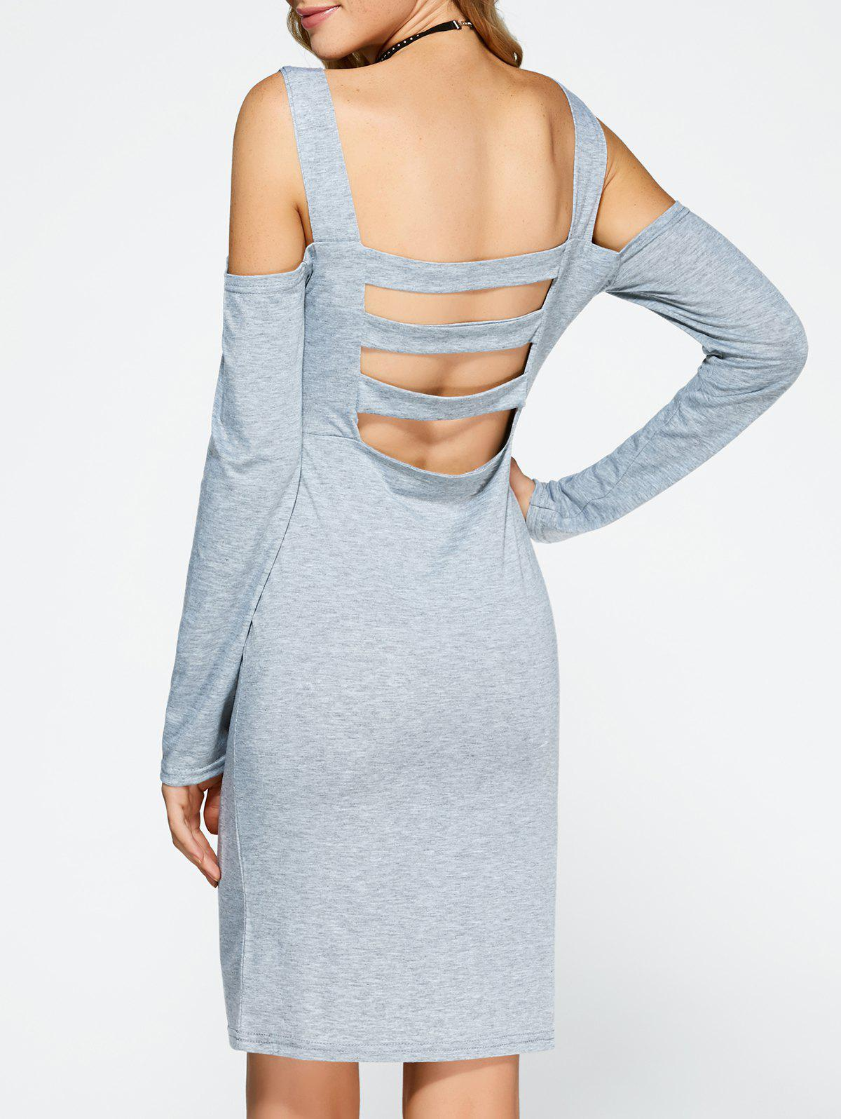 Shop Cold Shoulder Backless Bandage Sheath Cocktail Dress