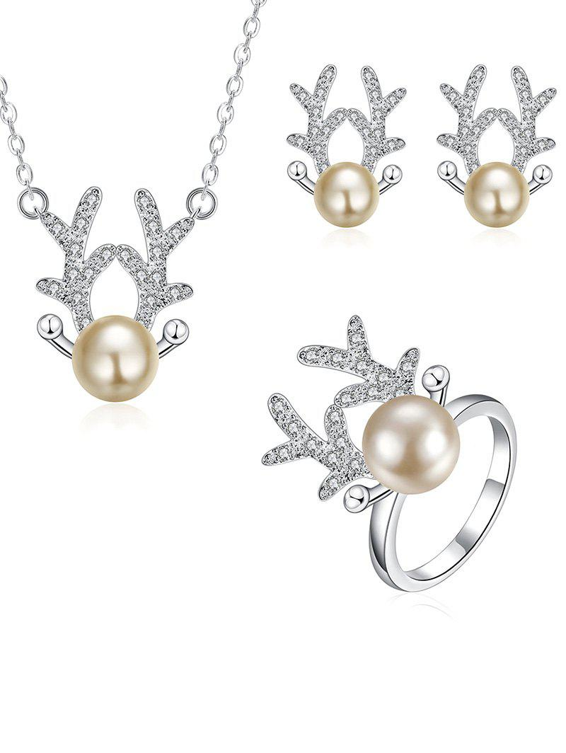 Rhinestone Christmas Elk Jewelry SetJEWELRY<br><br>Color: SILVER; Item Type: Pendant Necklace; Gender: For Women; Style: Noble and Elegant; Shape/Pattern: Animal; Weight: 0.060kg; Package Contents: 1 x Necklace 1 x Earring (Pair) 1 x Ring;