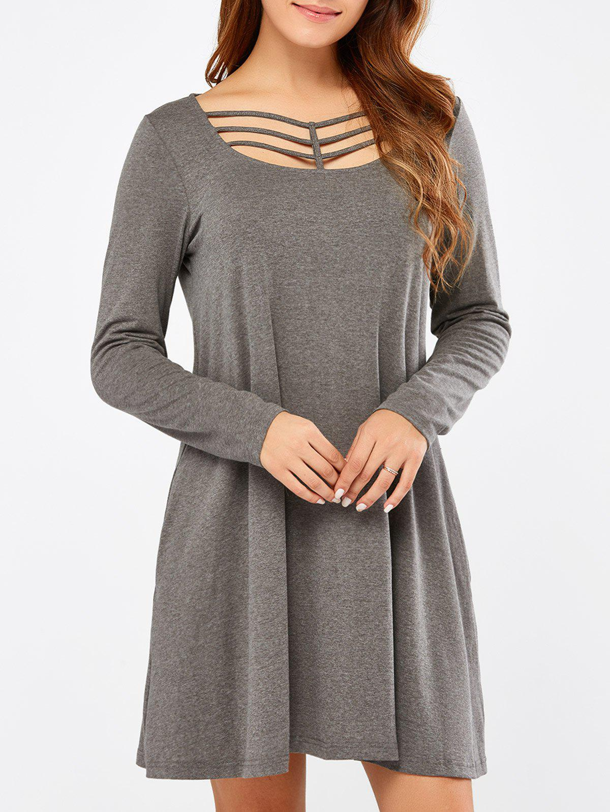 New Long Sleeve Strappy A Line Casual Short Dress