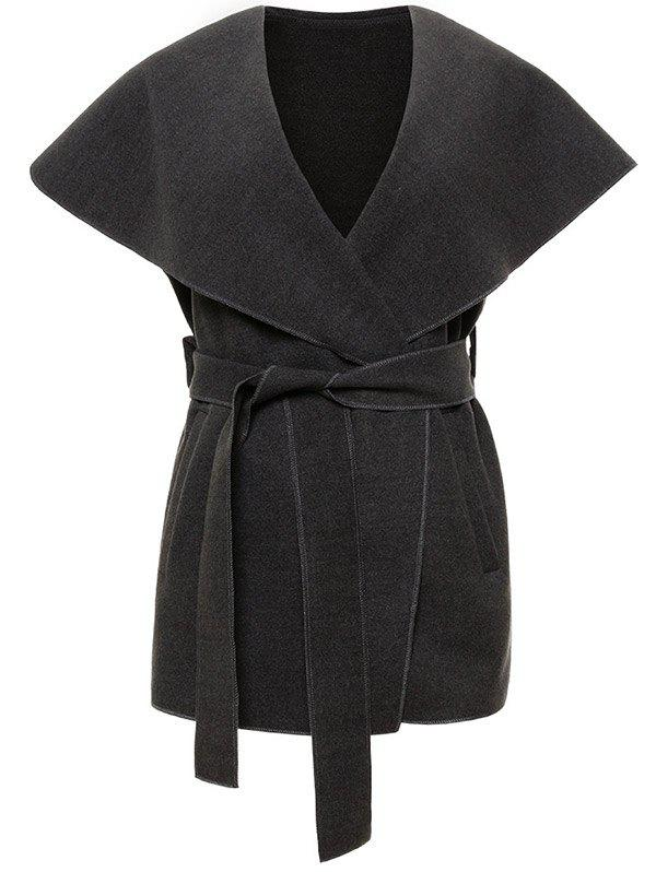 Outfit Shawl Collar Belted Wrap Waistcoat