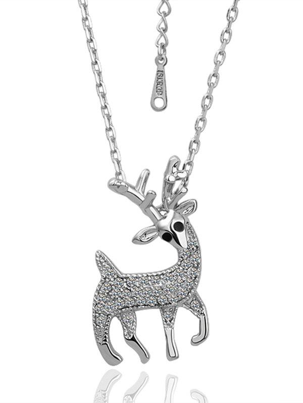 Rhinestoned Elk Christmas NecklaceJEWELRY<br><br>Color: SILVER; Item Type: Pendant Necklace; Gender: For Women; Style: Noble and Elegant; Shape/Pattern: Animal; Weight: 0.030kg; Package Contents: 1 x Necklace;