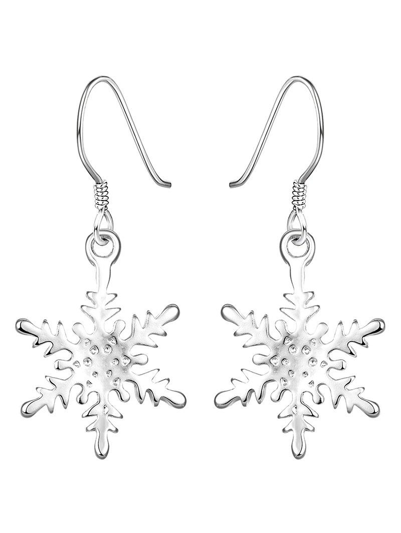 Rhinestone Snowflake Christmas Drop EarringsJEWELRY<br><br>Color: SILVER; Earring Type: Drop Earrings; Gender: For Women; Style: Noble and Elegant; Shape/Pattern: Others; Weight: 0.030kg; Package Contents: 1 x Earring (Pair);