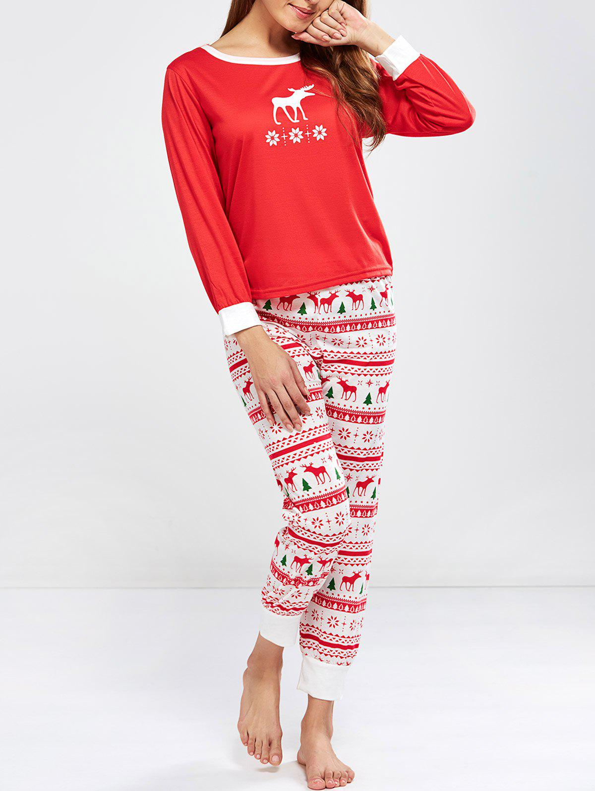 Christmas Deer Print Pajamas Sleepwear SetsWOMEN<br><br>Size: L; Color: RED; Material: Polyester; Pattern Type: Print; Weight: 0.450kg; Package Contents: 1 x T Shirt  1 x Pants;
