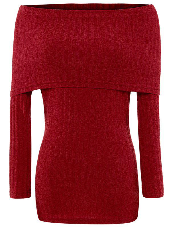 Foldover Off The Shoulder Ribbed Jumper 201276801