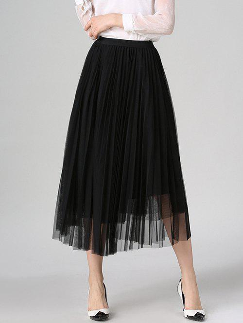 Outfit Tulle Pleated Midi A-Line Skirt