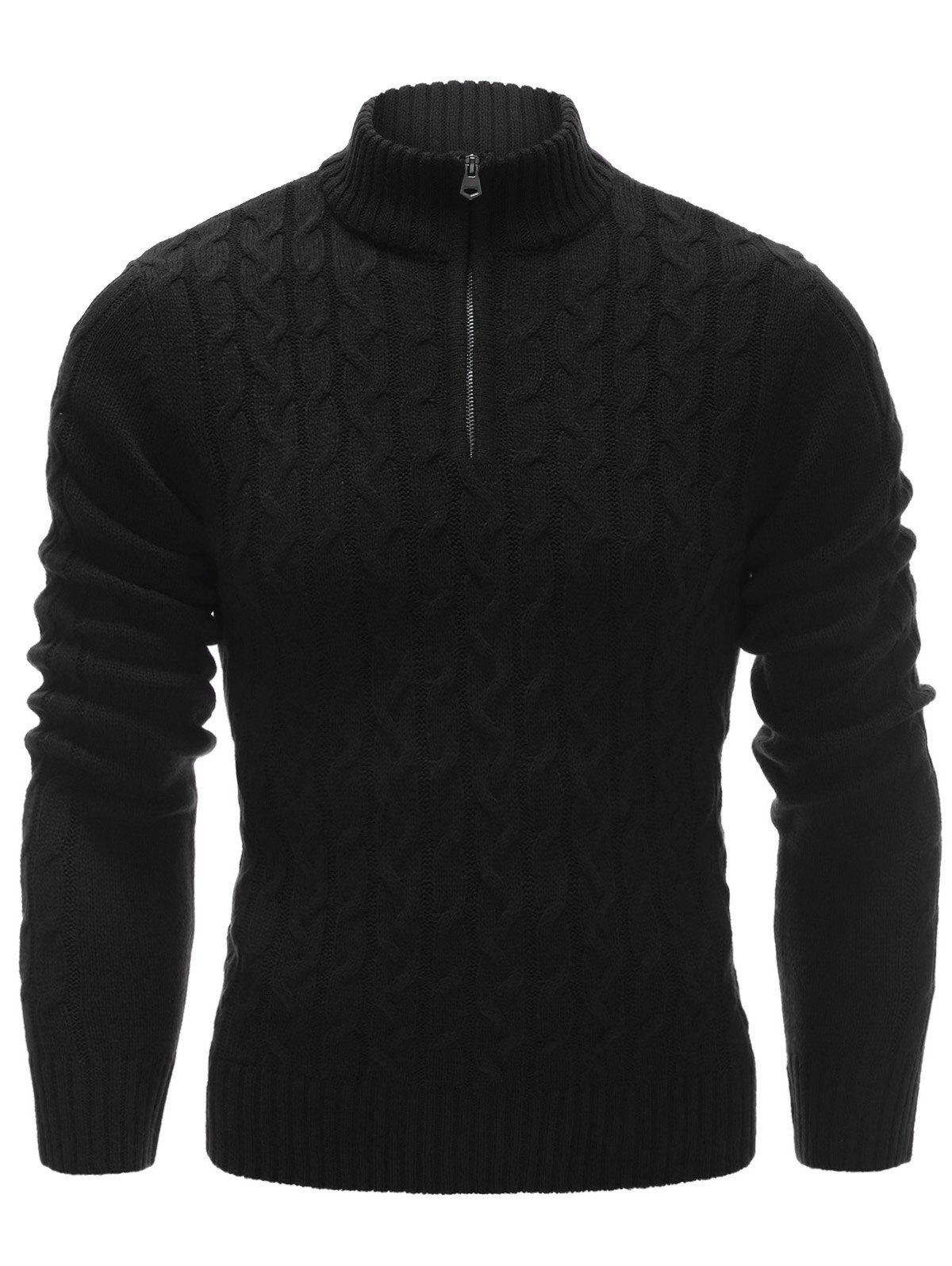 Half Zip Up Cable Knit Pullover SweaterMEN<br><br>Size: M; Color: BLACK; Type: Pullovers; Material: Polyester; Sleeve Length: Full; Collar: Stand Collar; Technics: Computer Knitted; Style: Fashion; Weight: 0.559kg; Package Contents: 1 x Sweater;