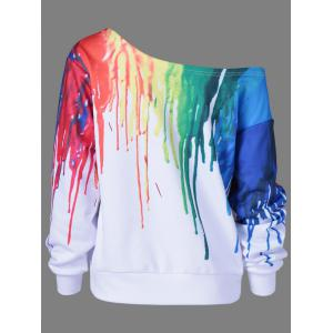 Paint Drip Skew Collar Sweatshirt - WHITE 5XL