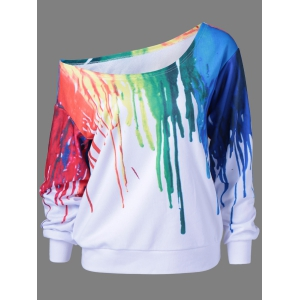 Paint Drip Skew Collar Sweatshirt - White - 2xl