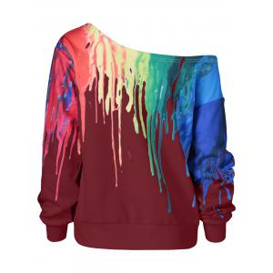 Paint Drip Skew Collar Sweatshirt -