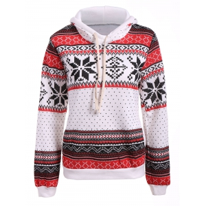 Polka Dot Christmas Snowflake Pullover Hoodie - Red And White - Xl