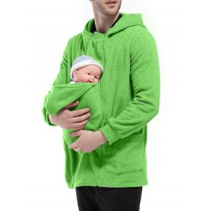 Double Zippers Detachable Pocket Baby Carrier Hoodie - GREEN L