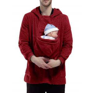 Double Zippers Detachable Pocket Baby Carrier Hoodie