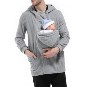 Double Zippers Detachable Pocket Baby Carrier Hoodie -