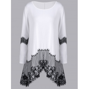 Lace Insert Long Sleeve Asymmetrical T-Shirt