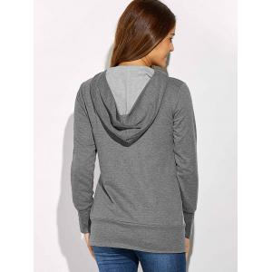 Button Decorated Hoodie -