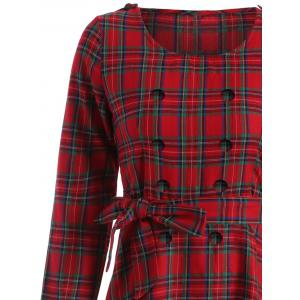 Tartan Plaid Long Sleeve A Line Modest Dress - RED 2XL