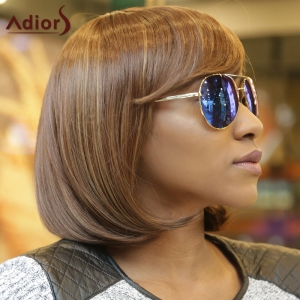 Stunning Medium Straight Side Bang Capless Brown Mixed Synthetic Wig For Women - COLORMIX