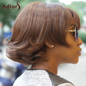 Classic Dark Brown Synthetic Fluffy Wave Bob Style Short Wig For Women - DEEP BROWN