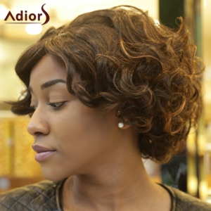 Faddish Double Color Fluffy Short Afro Curly Synthetic Capless Wig - COLORMIX