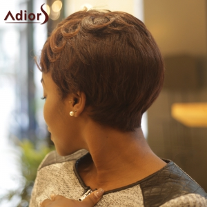 Short Fluffy Curly Inclined Bang Synthetic Wig -