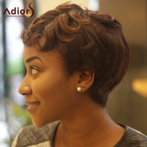 Short Fluffy Curly Inclined Bang Synthetic Wig - COLORMIX