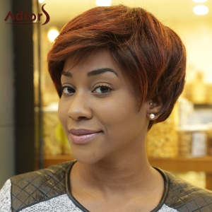 Short Fluffy Straight Inclined Bang Double Color Synthetic Wig - COLORMIX