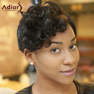 Ultrashort Curly Oblique Bang Pixie Cut Synthetic Wig - COLORMIX