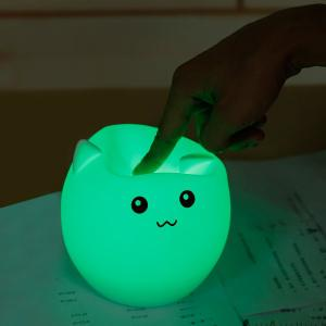 Pig Cartoon Silica Gel LED Colorful Ombre Night Light - Blanc