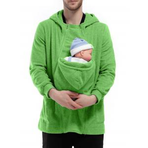 Double Zippers Detachable Pocket Baby Carrier Hoodie - Green - Xl