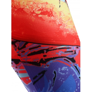 Skinny Sunset Glow Print Leggings - RED XL