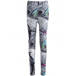 Skinny Fish Print Leggings - GRAY XL