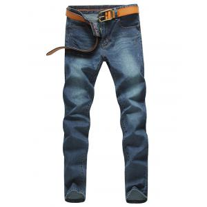 Zip Fly Pocket Design Tapered Fit Jeans - Deep Blue - 29