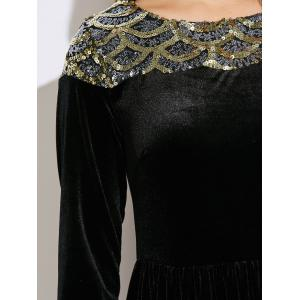Velvet Formal A Line Evening Maxi Dress with Sleeves - BLACK XL
