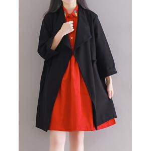 Loose Drawstring Duster Trench Coat - Black - L