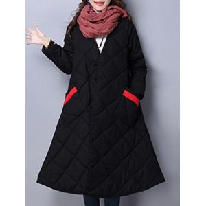 V Neck Loose Winter Padded Coat Jacket