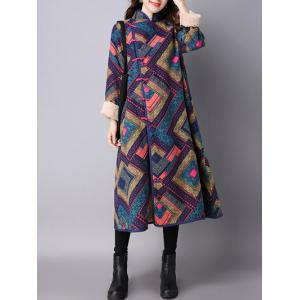 Argyle Chinese Style Loose Coat - Deep Blue - 2xl