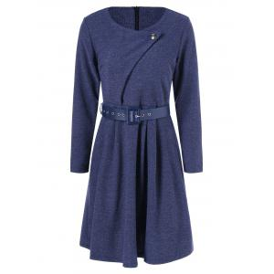 Belted Knee Length Pleated Dress