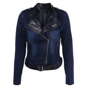 PU Leather Insert Denim Jacket