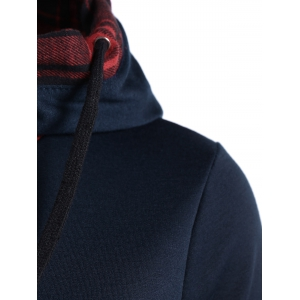 Plaid Splicing Drawstring Hoodie -
