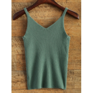 V Neck Knitted Tank Top -