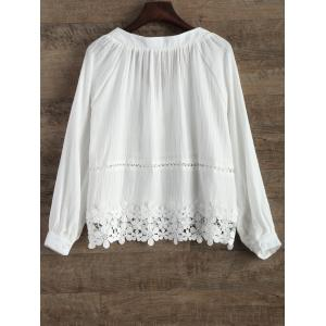 V Neck Lacing Spliced Hollow Out Blouse -