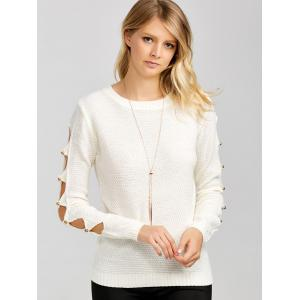 Hollowed Out Beads Embellished Sweater -