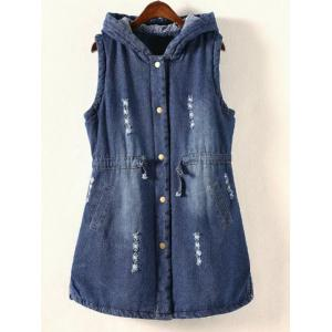 Plus Size Frayed Padded Denim Waistcoat - Denim Blue - 4xl