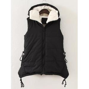 Plus Size Zipper Up Hooded Waistcoat - Black - 2xl