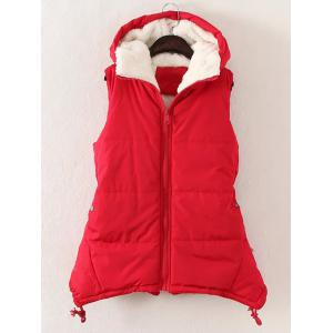 Plus Size Zipper Up Hooded Waistcoat - Red - 3xl