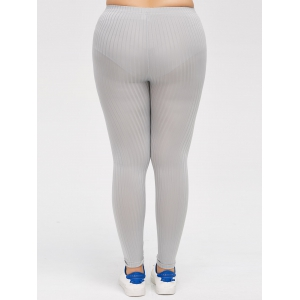 Plus Size Solid Color Skinny Leggings - GRAY 5XL