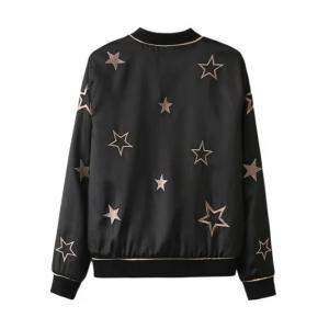 Star Embroidered Convertible Thin Bomber Jacket - BLACK L