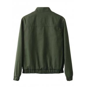 Fit Pocket Design Bomber Jacket - ARMY GREEN XL